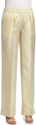 Michael Kors Wide-Leg Striped Pajama Pants, Pale Yellow Combo
