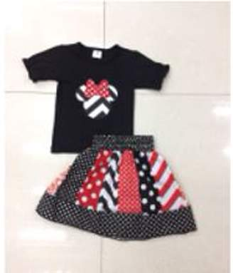 8ca15f527bb Baby Star Girls Minnie Mouse Skirt Set Black and Red 2T S