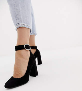 New Look Wide Fit wide fit ankle strap heeled shoe in black