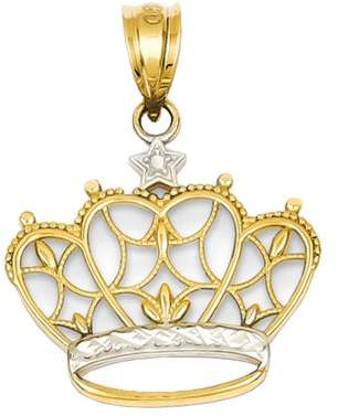Black Bow Jewelry Company 14k Yellow Gold and White Rhodium Two Tone Crown Pendant, 19mm