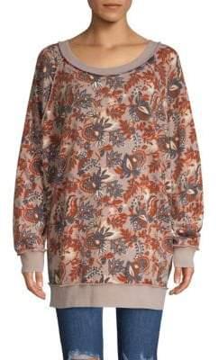 Free People Raglan-Sleeve Floral-Print Sweater