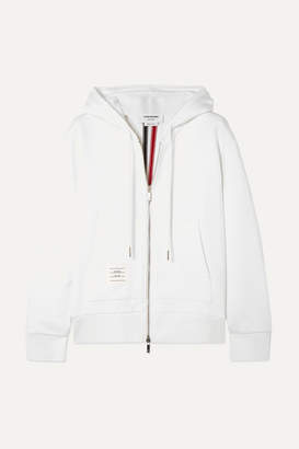 Thom Browne Striped Stretch Knit-trimmed Loopback Cotton-jersey Hoodie - White