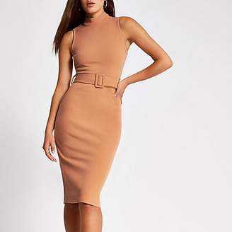 River Island Beige high neck belted bodycon midi dress