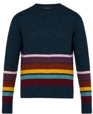 Prada - Intarsia Stripe Wool Sweater - Mens - Blue Multi