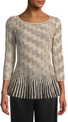 St. John 3/4-Sleeve Sequin Trellis Knit Peplum Sweater