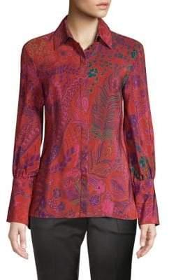 Josie Natori Bohemian Garden Print Silk Blouse