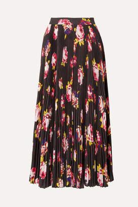 MSGM Floral-print Plissé-crepe Midi Skirt - Black