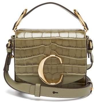 Chloé The C Mini Crocodile Effect Leather Cross Body Bag - Womens - Khaki