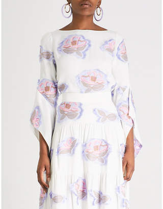 Peter Pilotto Floral-embroidered crepe top