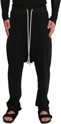 Rick Owens Black Wool Crepe Joggers With Drop Crotch