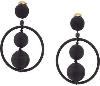 Oscar de la Renta beaded hoop clip-on earrings