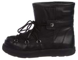 Moncler Leather Round-Toe Ankle Boots