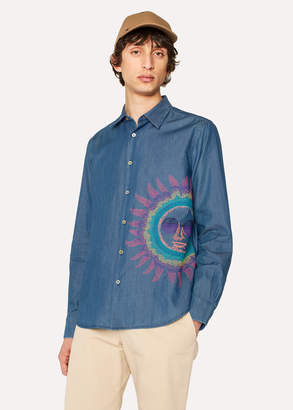 Paul Smith Men's Slim-Fit Blue Cotton Chambray Shirt With Embroidered Sun