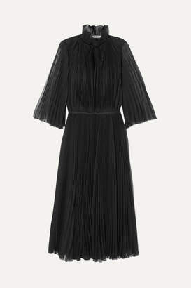 Prada Plissé-georgette Midi Dress - Black