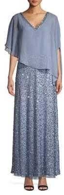 J Kara Embellished Asymmetrical Gown