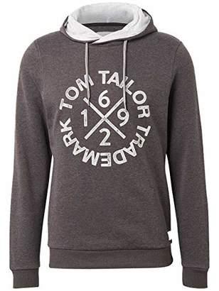 Tom Tailor Casual Men's Hooded Sweat, Tarmac Grey Melange, M Sweatshirt, 15101, Medium