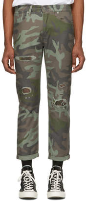 Levi's Levis Green and Brown Camo Hi-Ball Roll Jeans