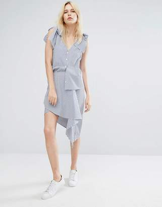 J.o.a. Wrap Front High Low Mini Skirt In Fine Stripe