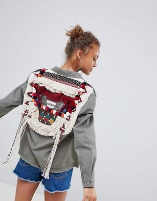 Bershka pompom cargo jacket in khaki