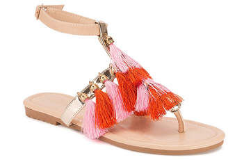 OLIVIA MILLER Jupiter Multi Color Block Tassel Sandals Women's Shoes