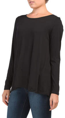 Long Sleeve Pleated Chiffon Back Top