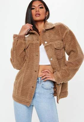 Missguided Tall Brown Oversized Borg Jacket