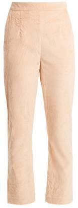 Isa Arfen Slim-leg crushed-velvet cotton-blend trousers