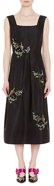 Prada Women's Embellished Silk Faille A-Line Dress