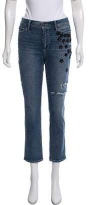 Paige Denim Embellished Mid-Rise Straight-Leg Jeans