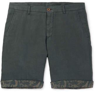 Etro Tapered Linen Bermuda Shorts