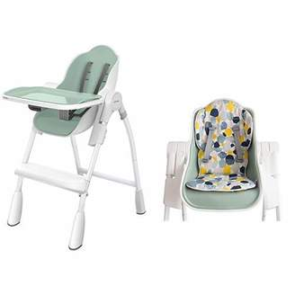 Oribel Folding Reclining Highchair, Pistachio Green with Cocoon Reversible Highchair Seat Liner