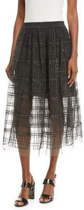 Brunello Cucinelli A-Line Tulle Skirt with Sequin Windowpane