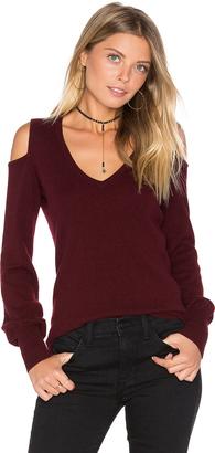 Autumn Cashmere Cold Shoulder V Neck Sweater $275 thestylecure.com
