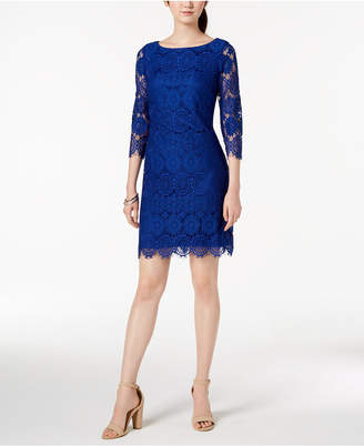 Jessica Howard 3/4-Sleeve Lace Shift Dress
