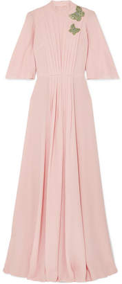 Andrew Gn Crystal-embellished Pleated Silk-chiffon Gown - Pink