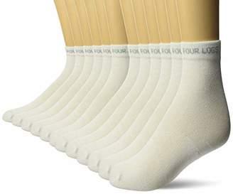 FOUR LOGS Men's Ankle Socks Athletic Performance Thin Long Sports 12 Pack, White