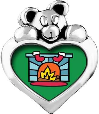 GiftJewelryShop Christmas Teddy Bear Blue Aquamarine Crystal March Birthstone I Love You Heart Care Bear Charm Bracelets