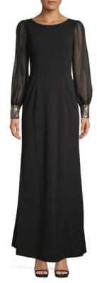Calvin Klein Illusion Long-Sleeve Maxi Sheath Dress
