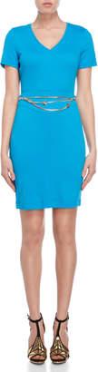 Versace Blue Chain Belt V-Neck Dress