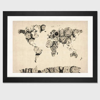 East Urban Home 'Map of the World Map from Old Clocks' Graphic Art Print