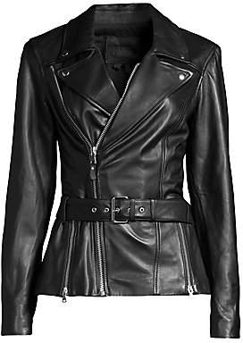 Paige Women's Dita Belted Leather Jacket