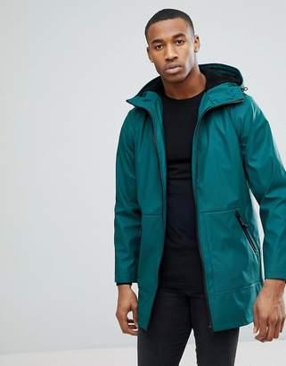 Asos Shower Resistant Rain Coat With Fleece Lined Hood In Bottle Green