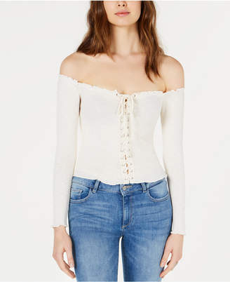 Project 28 Nyc Off-The-Shoulder Lace-Up Top