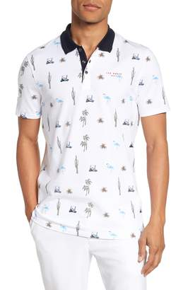 Ted Baker Trim Fit Golf Print Polo