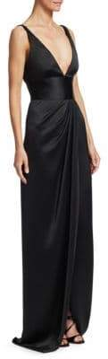 Naeem Khan Deep-V Gathered Satin Gown