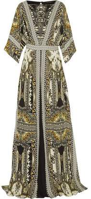 Etro Embellished Leather-trimmed Printed Silk-chiffon Maxi Dress