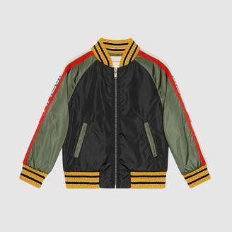 Gucci Children's nylon jacket with stripe