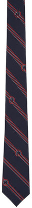 Gucci Navy Silk Diagonal Stripes and G Tie