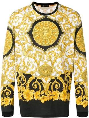 Versace Hibiscus print long-sleeve T-shirt