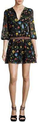 Alice + Olivia Jolene Split-Neck Smocked-Waist Mini Dress, Multicolor $495 thestylecure.com